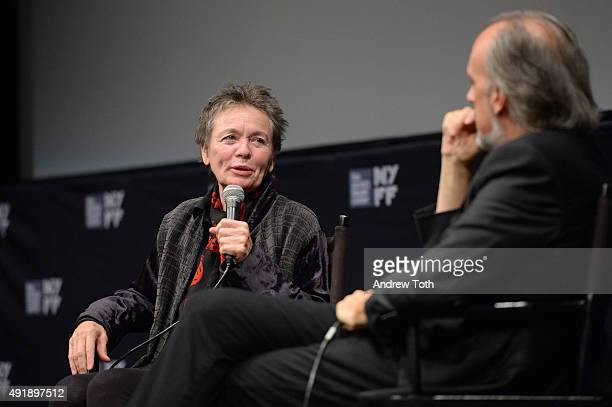 Filmmaker Laurie Anderson and New York Film Festival Director Kent Jones speak on stage at the 'Heart Of Dog' QA during the 53rd New York Film...