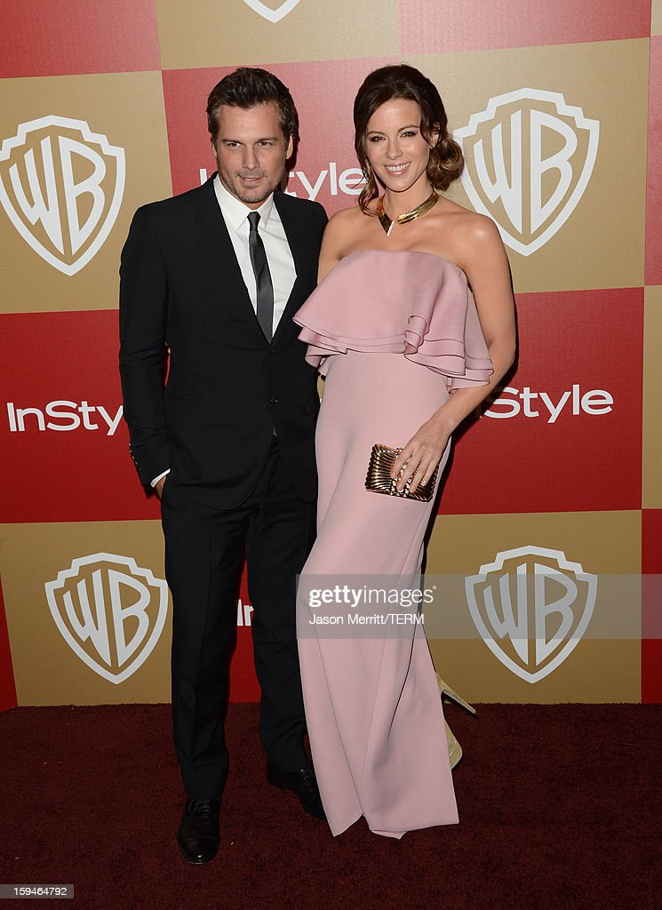 Filmmaker Len Wiseman (L) and actress Kate Beckinsale attend the 14th Annual Warner Bros. And InStyle Golden Globe Awards After Party held at the Oasis Courtyard at the Beverly Hilton Hotel on January 13, 2013 in Beverly Hills, California.