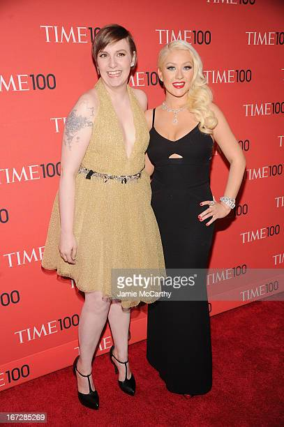 Filmmaker Lena Dunham and singersongwriter Christina Aguilera attends the 2013 Time 100 Gala at Frederick P Rose Hall Jazz at Lincoln Center on April...