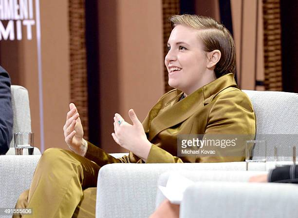 "Filmmaker Lena Dunham speaks onstage during You ""Like"" It … So Now What at the Vanity Fair New Establishment Summit at Yerba Buena Center for the..."