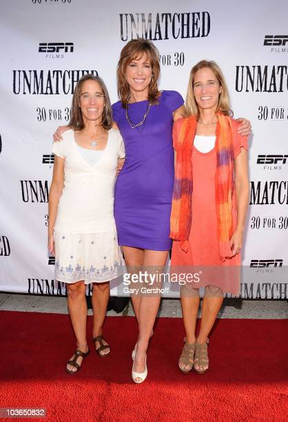 "Filmmaker Lisa Lax, ESPN host and film producer Hannah Storm and filmmaker Nancy Stern Winters attend the premiere of ""Unmatched"" at Tribeca Cinemas..."
