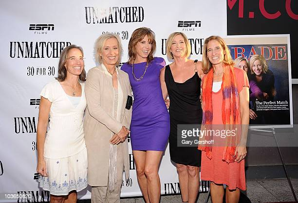 Filmmaker Lisa Lax, former tennis champion Martina Navratilova, ESPN host and film producer Hannah Storm, former tennis champion Chris Evert and...