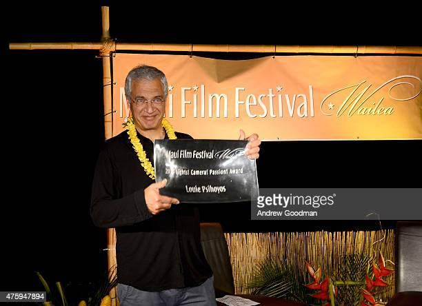 Filmmaker Louie Psihoyos receives the 2015 Maui Film Festival Lights Camera Action Award during day two of the 2015 Maui Film Festival at Celestial...