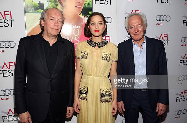 Filmmaker Luc Dardenne actress Marion Cotillard and filmmaker JeanPierre Dardenne attend the special screening of Two Days One Night during AFI FEST...