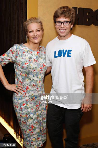 Filmmaker Lucy Walker and snowboarder Kevin Pearce attend HBO's Crash Reel New York Screening at HBO Theater on July 11 2013 in New York City
