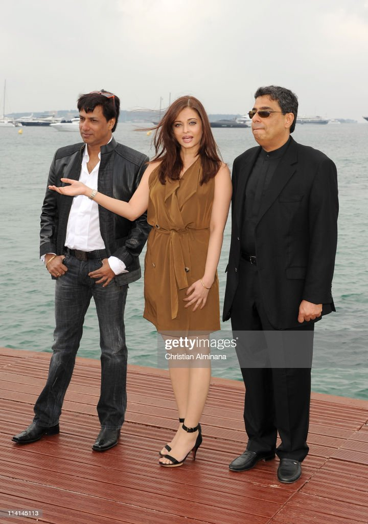 Filmmaker Madhur Bhandarkar actress Aishwarya Rai and producer Ronnie Screwvala attend a photocall during the 64th Annual Cannes Film Festival at the.