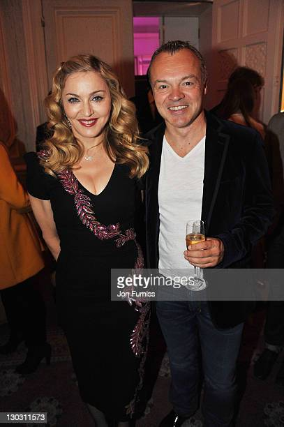 Film-maker Madonna and actor comedian Graham Norton the after party for the screening of 'W.E.' at The 55th BFI London Film Festival at Claridges on...