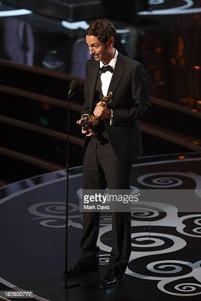 Filmmaker Malik Bendjelloul accepts the Best Documentary - Feature award for 'Searching for Sugar Man' onstage during the Oscars held at the Dolby...