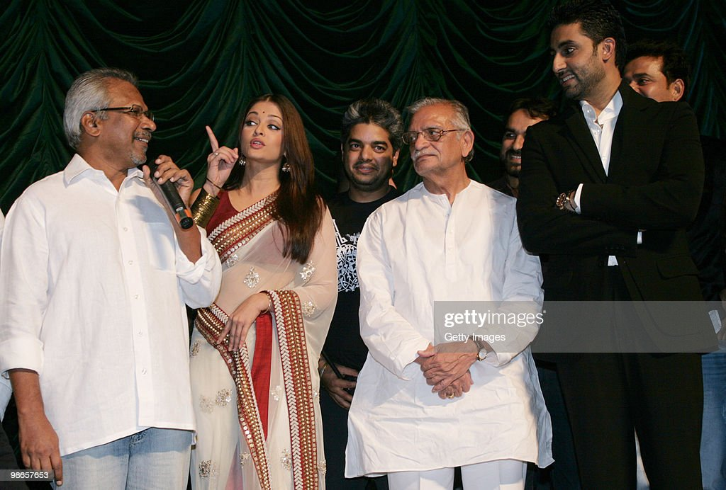 Filmmaker Mani Ratnam actor Aishwarya Rai lyricist Gulzar and actor Abhishek Bachchan during the launch of Bollywood movie `Raavan` in Mumbai on...