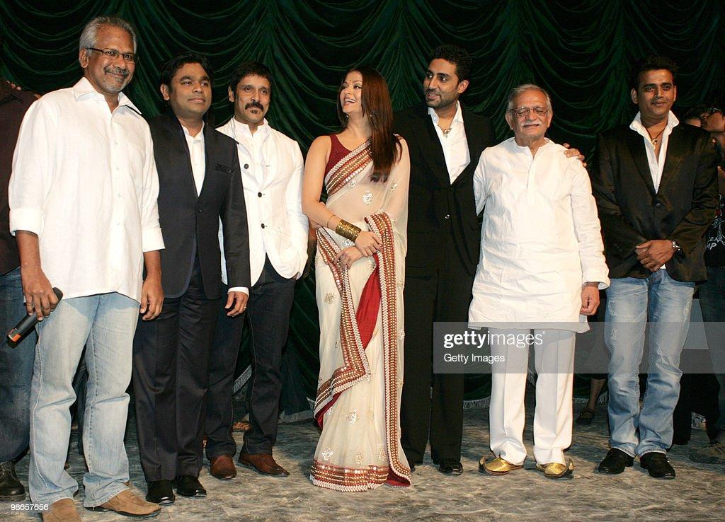 Filmmaker Mani Ratnam Oscar winner A R Rahman actors Vikram Aishwarya Rai Abhishek Bachchan lyricist Gulzar and actor Ravi Kishan during the launch...