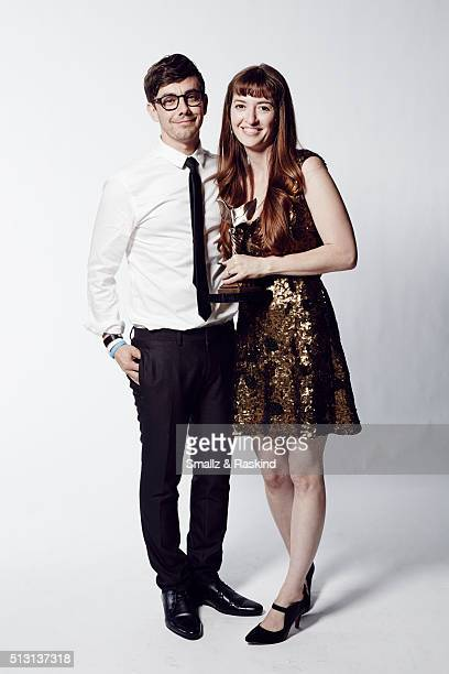 Filmmaker Marielle Heller and husband and filmmaker Jorma Taccone pose for a portrait at the 2016 Film Independent Spirit Awards after winning Best...