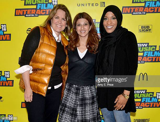 Filmmaker Marina Zenovich ESPN reporter Rachel Nichols and American sabre fencer Ibtihaj Muhammad attend 'The New Church Sport as Currency of...