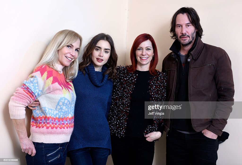 Filmmaker Marti Noxon, actors Lily Collins, Carrie Preston and Keanu Reeves from the film 'To the Bone' pose for a portrait in the WireImage Portrait Studio presented by DIRECTV during the 2017 Sundance Film Festival on January 21, 2017 in Park City, Utah.