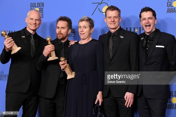 Filmmaker Martin McDonagh winner of the award for Best Screenplay actor Sam Rockwell winner of the award for Best Performance by an Actor in a...