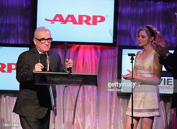 Filmmaker Martin Scorsese and actress Chloe Moretz speak onstage at AARP Magazine's 11th Annual Movies for Grownups Awards Gala at the Beverly...