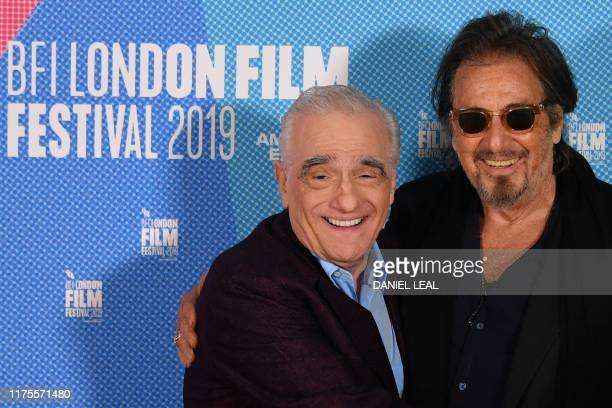 US filmmaker Martin Scorsese poses with US actor Al Pacino as they attend a photo call for the film The Irishman during the 2019 BFI London Film...