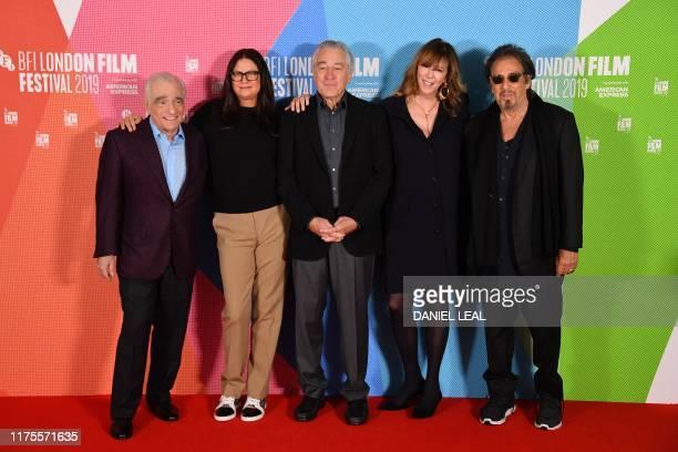 US filmmaker Martin Scorsese US producer Emma Tillinger Koskoff US actor Robert De Niro US producer Jane Rosenthal and US actor Al Pacino pose as...