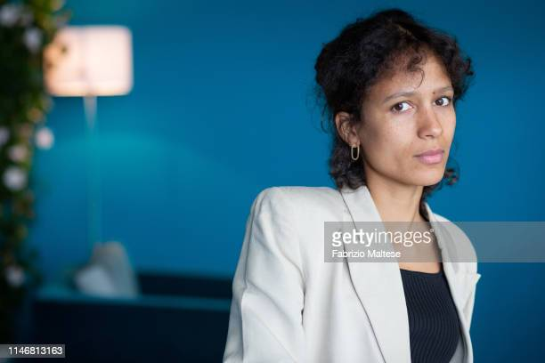 Filmmaker Mati Diop poses for a portrait on May 18 2019 in Cannes France