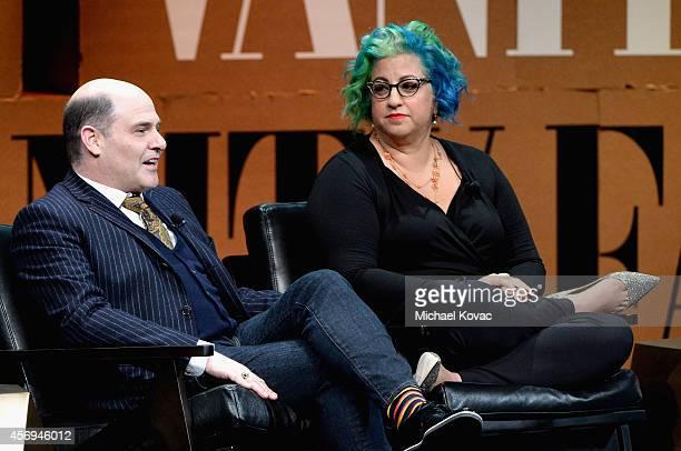 Filmmaker Matthew Weiner and Filmmaker Jenji Kohan speak onstage during The Golden Age of Drama at the Vanity Fair New Establishment Summit at Yerba...