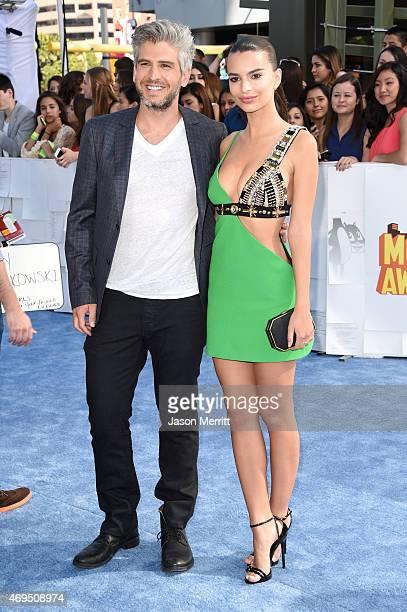 Filmmaker Max Joseph and model Emily Ratajkowski attend The 2015 MTV Movie Awards at Nokia Theatre LA Live on April 12 2015 in Los Angeles California