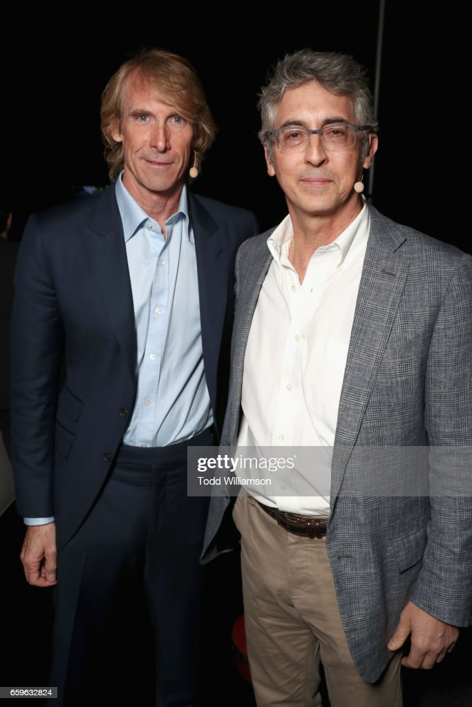 Filmmaker Michael Bay (L) and director Alexander Payne at CinemaCon 2017 Paramount Pictures Presentation Highlighting Its Summer of 2017 and Beyond at The Colosseum at Caesars Palace during CinemaCon, the official convention of the National Association of Theatre Owners, on March 28, 2017 in Las Vegas, Nevada.