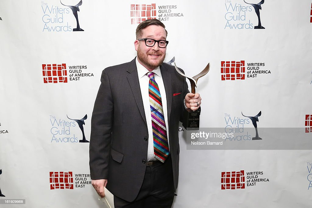 Filmmaker Michael Cyril Creighton poses backstage at the 65th annual Writers Guild East Coast Awards at B.B. King Blues Club & Grill on February 17, 2013 in New York City.
