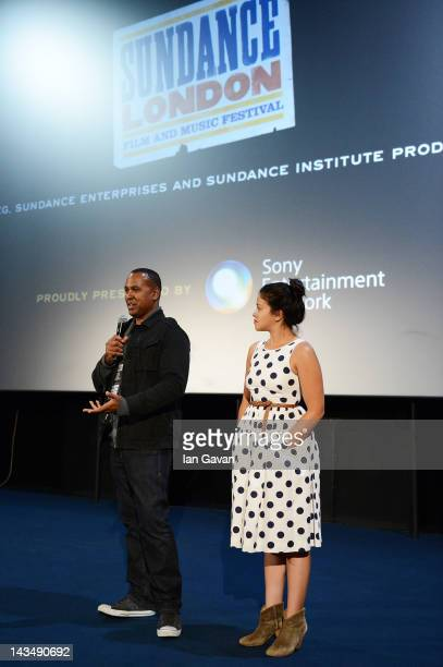 Filmmaker Michael D Olmos and actress Gina Rodriguez speak at the Filly Brown screening and QA during Sundance London at Cineworld 02 Arena on April...