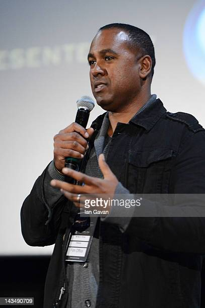 Filmmaker Michael D Olmos speaks at the Filly Brown screening and QA during Sundance London at Cineworld 02 Arena on April 27 2012 in London England