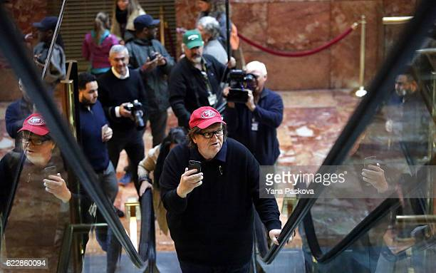 Filmmaker Michael Moore arrives to Trump Tower on November 12 2016 in New York City Presidentelect Donald Trump is holding meetings at his Trump...