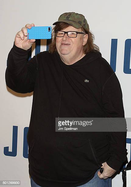 Filmmaker Michael Moore attends the 'Joy' New York premiere at the Ziegfeld Theater on December 13 2015 in New York City