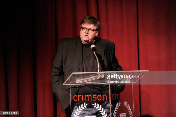 Filmmaker Michael Moore speaks onstage at the 2012 New York Film Critics Circle Awards at Crimson on January 7 2013 in New York City