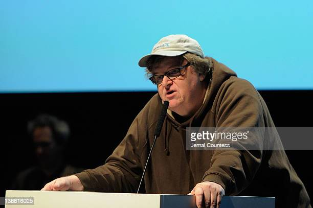 Filmmaker Michael Moore speaks onstage during the 5th Annual Cinema Eye Honors for Nonfiction Filmmaking at the Museum of the Moving Image on January...
