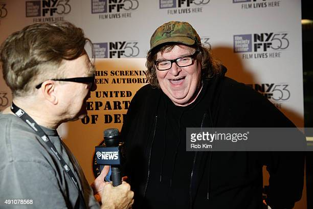 Filmmaker Michael Moore talks with the press at a screening of the film 'Where To Invade Next' during the 53rd New York Film Festival at Alice Tully...