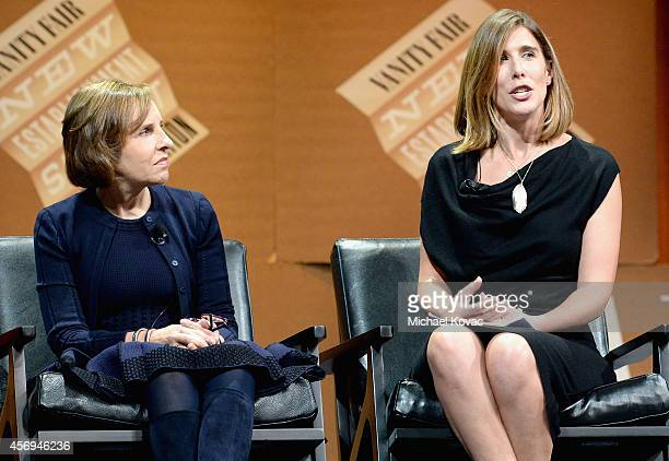 Filmmaker Michelle King and Vanity Fair Contributing Editor and Moderator Sarah Ellison speak onstage during The Golden Age of Drama at the Vanity...