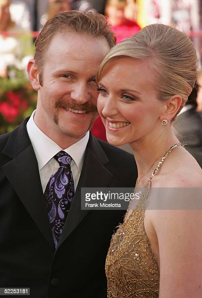 """Filmmaker Morgan Spurlock, nominated for Best Documentary Feature Film for the film """"Super Size Me"""", and his wife Alexandra Jamieson arrives the 77th..."""