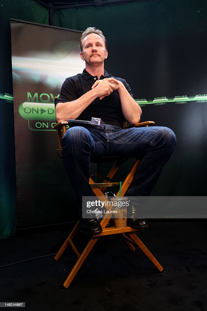 Filmmaker Morgan Spurlock speaks at the Movies On Demand lounge at Comic Con at Hard Rock Hotel San Diego on July 12, 2012 in San Diego, California.