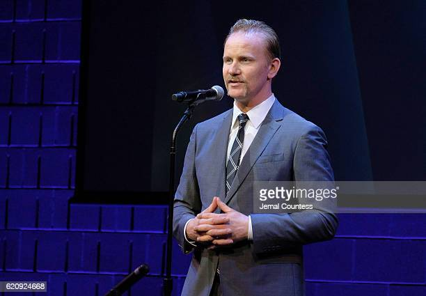 Filmmaker Morgan Spurlock speaks on stage during Critics' Choice Documentary Awards at BRIC Arts Center on November 3 2016 in the Brooklyn borough of...