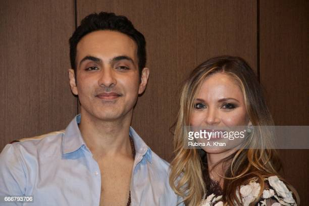 Filmmaker Mozez Singh with Georgina Chapman cofounder and creative director of Marchesa fashion at the dinner party he hosted for her at his home...