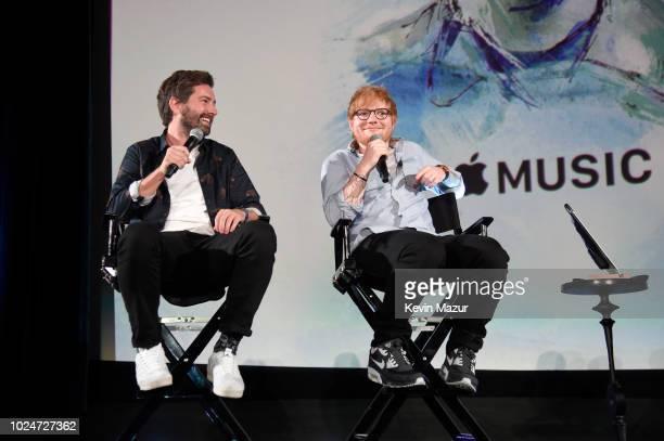 Filmmaker Murray Cummings and Ed Sheeran speak onstage at Apple Music Presents 'Songwriter' With Ed Sheeran in Los Angeles at ArcLight Cinemas...