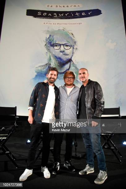 Filmmaker Murray Cummings Ed Sheeran and Apple Music's Zane Lowe attend Apple Music Presents 'Songwriter' With Ed Sheeran in Los Angeles at ArcLight...