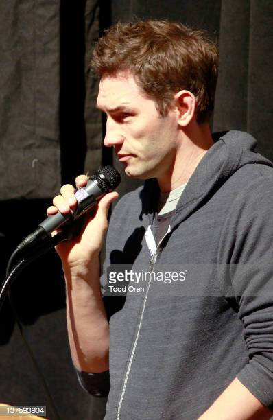 Filmmaker Nash Edgerton speaks onstage at Safety Not Guaranteed premiere during the 2012 Sundance Film Festival held at Prospector Square Theatre on...
