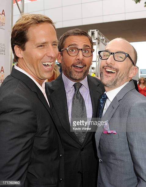 Filmmaker Nat Faxon actor Steve Carell and filmmaker Jim Rash attend the premiere of Fox Searchlight Pictures' 'The Way Way Back' at Regal Cinemas LA...