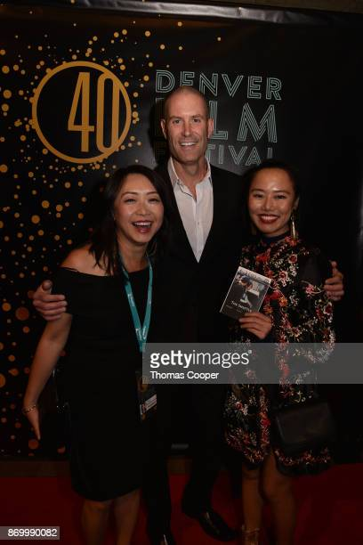 Filmmaker of The Shuttle Alice Ko along with Carlos Grana and Lu Han on the red carpet of the 40th annual Denver Film Festival November 3 2017 in...