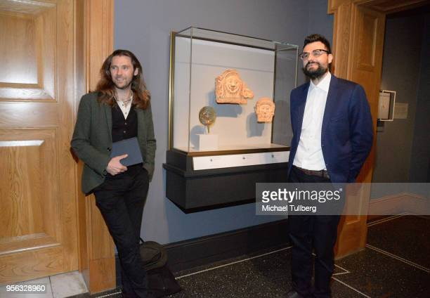 Filmmaker Oscar Sharp and poet Gabriele Tinti attend BritWeek at The Getty Villa on May 8 2018 in Pacific Palisades California
