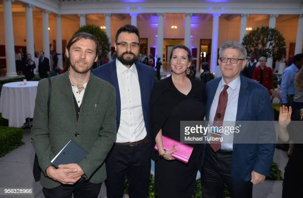 Filmmaker Oscar Sharp poet Gabriele Tinti Megan Phillips and guest attend BritWeek at The Getty Villa on May 8 2018 in Pacific Palisades California