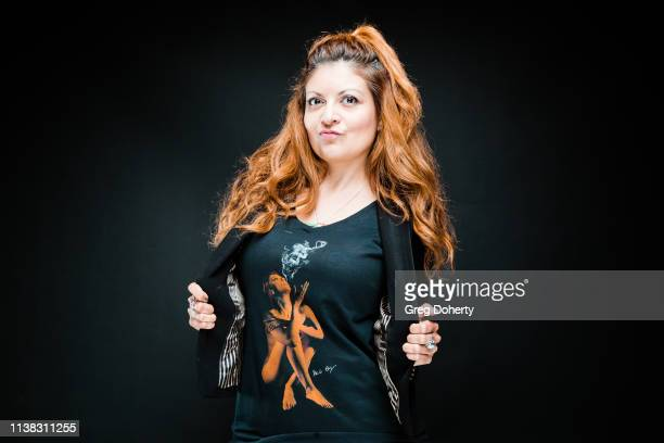 Filmmaker Patricia Chica wearing a Cannacity Shirt Design with Photography by Michael Bezjian attends the Welcome to Cannacity 'She's Smokin' Event...