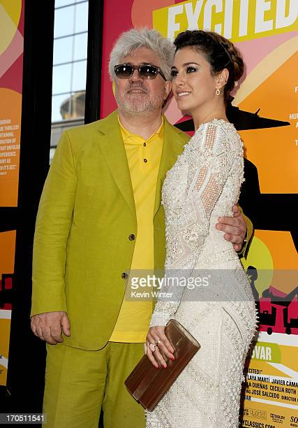 """Filmmaker Pedro Almodovar and actress Blanca Suarez arrive at the premiere of Sony Pictures Classics """"I'm So Excited!"""" during the 2013 Los Angeles..."""