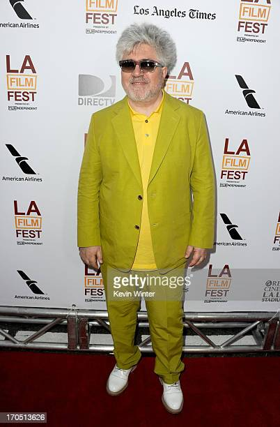"""Filmmaker Pedro Almodovar arrives at the premiere of Sony Pictures Classics """"I'm So Excited!"""" during the 2013 Los Angeles Film Festival at Regal..."""