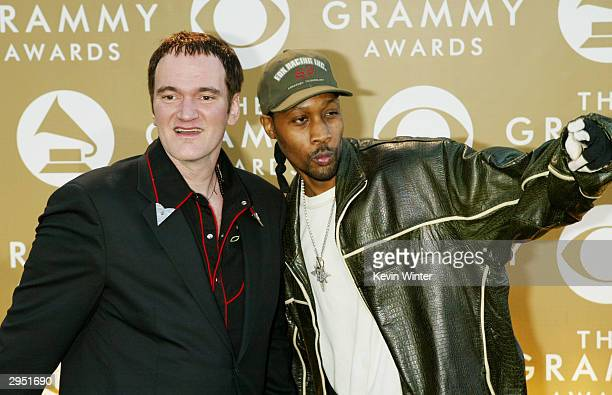 Filmmaker Quentin Tarantino and producer RZA arrive at the 46th Annual Grammy Awards held at the Staples Center on February 8 2004 in Los Angeles...