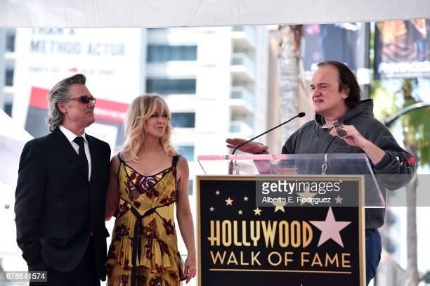 Filmmaker Quentin Tarantino speaks onstage as actors Kurt Russell and Goldie Hawn are honored with a double star ceremony on the Hollywood Walk of...